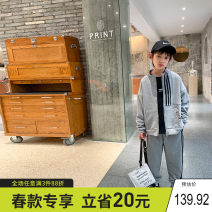 suit Xiaoxing Black, gray 130cm,140cm,150cm,160cm,170cm male spring and autumn leisure time Long sleeve + pants 2 pieces routine There are models in the real shooting Zipper shirt nothing Solid color children Expression of love Ttz21603 Class B Other 100% Chinese Mainland