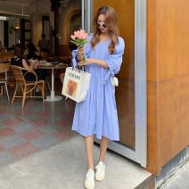 Dress Other / other blue M. L, XL, XXL, XXXL, increase XXXL Versatile Short sleeve Medium length V-neck lattice