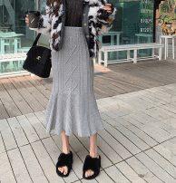 skirt Winter 2020 S, M Grey seagull Mid length dress commute High waist A-line skirt Solid color Type A BQ121017 Korean version