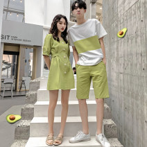 T-shirt Fashion City Boys short sleeve (green) boys one set (green) girls dress (green) boys short sleeve (Orange) boys one set (Orange) girls dress (Orange) routine Female s female m female l female XL male m male l male XL male 2XL male 3XL hammerman  Short sleeve Crew neck standard daily summer