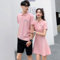 T-shirt Fashion City routine Female s female m female l female XL male m male l male XL male 2XL male 3XL hammerman  Short sleeve Lapel Self cultivation daily summer Cotton 95% polyurethane elastic fiber (spandex) 5% Couples dress routine like a breath of fresh air Bead mesh Summer of 2019 Embroidery