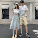 T-shirt Fashion City Boys short sleeve boys a girl dress routine Female s female m female l female XL male m male l male XL male 2XL male 3XL hammerman  Short sleeve Crew neck standard daily summer HM1163 Cotton 95% polyurethane elastic fiber (spandex) 5% Couples dress routine Exquisite Korean style
