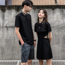 T-shirt Fashion City routine Female s female m female l female XL male m male l male XL male 2XL male 3XL hammerman  Short sleeve Lapel Self cultivation daily summer Couples dress routine Exquisite Korean style Summer of 2019 Solid color Hollowing out No iron treatment Designer brand