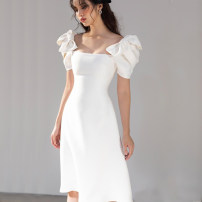 Dress / evening wear Adulthood, routine, dating, wedding, performance, party, company annual meeting UK4/XS,UK6/S,UK8/M,UK10/L,UK12/XL white grace Middle-skirt High waist Summer 2021 fish tail Chest type zipper Other polyester 95% 5% 26-35 years old MMZ2934 Short sleeve Embroidery Solid color other