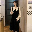 Women's large Spring 2021 black L (recommendation 100-120), XL (recommendation 120-140), 2XL (recommendation 140-160), 3XL (recommendation 160-180), 4XL (recommendation 180-200) Dress singleton  commute Socket Korean version Medium length 8993# Medium length