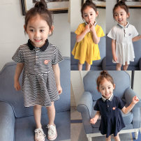 Dress Yellow, white, Navy, stripe female Other / other The recommended height is about 80cm for size 80, 90cm for Size 90, 100cm for size 100, 110cm for Size 110, 120cm for Size 120 and 130cm for Size 130 Other 100% summer leisure time Short sleeve Solid color other other