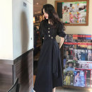 Women's large Summer 2020, summer 2021 Apricot, black Large L, large XL, s, M Dress singleton  commute Short sleeve Solid color Korean version V-neck other routine 18-24 years old longuette other