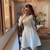 Women's large Summer 2020, summer 2021 Blue, white Large L, large XL, s, M Dress singleton  commute Socket Short sleeve Solid color Korean version square neck polyester fiber routine 18-24 years old Short skirt