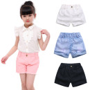 trousers Xizhuang female 100cm,110cm,120cm,130cm,140cm,150cm,160cm Girls' pink shorts, girls' white shorts, girls' black shorts, perforated jeans shorts, girls' pink shorts summer shorts Korean version There are models in the real shooting Jeans Leather belt middle-waisted cotton KX18B05 Class A