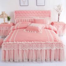 Bedding Set / four piece set / multi piece set Others Solid color Chinese parasol Others 4 pieces other Bed skirt Qualified products Korean style twill Reactive Print