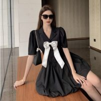 Dress Summer 2021 Bow tie dress S, M Middle-skirt singleton  Short sleeve commute tailored collar High waist Solid color Socket A-line skirt other Others 18-24 years old Type A Korean version Bowknot, stitching