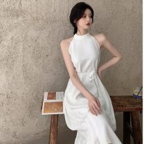 Dress Summer 2021 White, black Average size Mid length dress singleton  Sleeveless commute Crew neck High waist Solid color Socket A-line skirt other Hanging neck style 18-24 years old Type A Korean version