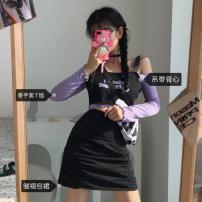 Fashion suit Spring 2021 S, M Sling, long sleeve purple, short sleeve purple, black skirt 18-25 years old