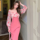 Dress Spring 2021 Romantic pink S,M,L longuette singleton  Long sleeves commute square neck High waist other Socket A-line skirt other Others 18-24 years old Type A Korean version 157#