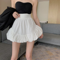 skirt Summer 2021 S, M White, black Short skirt commute High waist Flower bud skirt Solid color Type A 18-24 years old 1132# Korean version