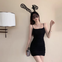 Dress Summer 2021 Shrimp pink, temperament black S,M,L Middle-skirt singleton  Sleeveless commute One word collar High waist Solid color Socket A-line skirt other camisole 18-24 years old Type A Korean version