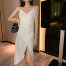 Dress Summer 2020 White, black S,M,L Mid length dress singleton  Sleeveless commute V-neck High waist Solid color Socket A-line skirt other camisole 18-24 years old Type A Korean version