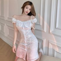 Dress Summer 2021 White dress S,M,L Short skirt singleton  Short sleeve commute One word collar High waist Decor Socket One pace skirt Wrap sleeves Breast wrapping 18-24 years old Type A Other / other Korean version fungus 6230#