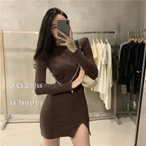 Dress Spring 2021 Black, brown Average size Middle-skirt singleton  Long sleeves commute Crew neck High waist Solid color Socket A-line skirt routine Others 18-24 years old Type A Korean version 8309#