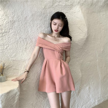 Dress Summer 2021 Yellow, black, pink Average size Middle-skirt singleton  commute One word collar High waist Solid color Socket A-line skirt other Others 18-24 years old Type A Korean version 1077# 51% (inclusive) - 70% (inclusive) other