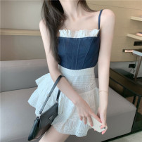 Fashion suit Summer 2021 S, M Top, skirt 18-25 years old 30% and below polyester fiber