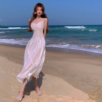 Dress Summer 2021 Off white S, M longuette singleton  Sleeveless commute V-neck High waist Solid color Socket A-line skirt other camisole 18-24 years old Type A Korean version Splicing 5189# 51% (inclusive) - 70% (inclusive)