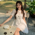 Fashion suit Summer 2021 M, L White top, bow tie dress (Brooch) 18-25 years old 71% (inclusive) - 80% (inclusive)