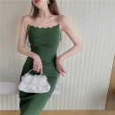 Dress Spring 2021 Apricot, green Average size Mid length dress singleton  Sleeveless commute V-neck High waist Solid color Socket One pace skirt other camisole 25-29 years old Type A Korean version 2539#