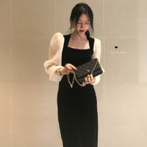 Dress Autumn 2020 Cream apricot M, L Mid length dress singleton  Long sleeves commute square neck middle-waisted other Socket Big swing routine Others 18-24 years old Type A Korean version 9125# 31% (inclusive) - 50% (inclusive) other polyester fiber