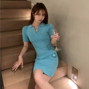 Dress Summer 2021 Lake blue Average size Short skirt singleton  Short sleeve commute Polo collar High waist Solid color Socket One pace skirt routine Others 18-24 years old Type A Korean version