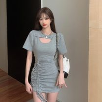 Dress Summer 2021 Gray, black Average size Short skirt singleton  Short sleeve commute Crew neck High waist Solid color Socket A-line skirt routine Others 18-24 years old Type A Korean version 6096#
