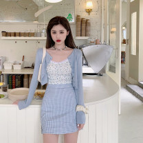 Fashion suit Spring 2021 S. M, average size Blue cardigan, floral sling, plaid skirt 18-25 years old