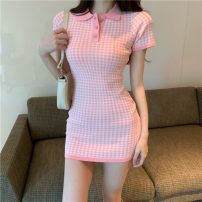 Dress Summer 2021 Classic black, classic Pink Average size Middle-skirt singleton  Short sleeve commute Polo collar High waist lattice Single breasted A-line skirt routine Others 18-24 years old Type H Other / other Korean version Button More than 95% other