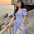 Dress Summer 2021 blue S, M Miniskirt singleton  Short sleeve commute square neck High waist Broken flowers Socket Irregular skirt puff sleeve Others 18-24 years old Type A Korean version Asymmetry, printing 31% (inclusive) - 50% (inclusive) other