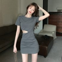 Dress Spring 2021 Picture color Average size Short skirt singleton  Short sleeve commute Crew neck Solid color Socket One pace skirt routine 18-24 years old Type A Retro nine thousand eight hundred and forty #