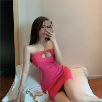 Dress Summer 2021 gules S,M,L Middle-skirt singleton  Sleeveless commute One word collar High waist Solid color Socket One pace skirt other Hanging neck style 18-24 years old Type A Korean version Hollowing out
