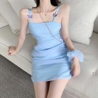 Dress Summer 2021 Light purple, light blue S, M Short skirt singleton  Sleeveless commute One word collar High waist Solid color Socket A-line skirt other camisole 18-24 years old Type A Korean version Bow, net D6841
