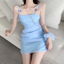 Dress Summer 2021 Light purple, light blue S, M Short skirt singleton  Sleeveless commute One word collar High waist Solid color Socket A-line skirt other camisole 18-24 years old Type A Korean version Bow, net D6841