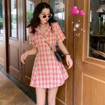 Dress Summer 2021 Red, green S, M Middle-skirt singleton  Short sleeve commute other High waist lattice double-breasted A-line skirt routine Others 18-24 years old Type A Other / other Korean version 3755#