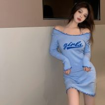 Dress Spring 2021 blue S, M Middle-skirt singleton  Long sleeves commute One word collar High waist letter Socket A-line skirt routine Others 18-24 years old Type A Korean version