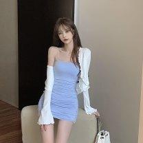 Fashion suit Summer 2021 Average size White cardigan, blue suspender skirt, pink suspender skirt 18-25 years old 6065#
