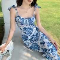 Dress Summer 2021 blue and white porcelain S, M longuette singleton  Sleeveless commute square neck High waist Decor Socket other other camisole 18-24 years old Type A Korean version 81% (inclusive) - 90% (inclusive) Chiffon