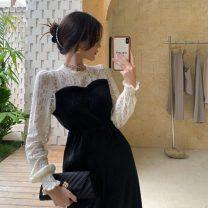 Dress Autumn 2020 Black dress Average size Miniskirt Long sleeves commute Half high collar High waist 18-24 years old Type A Korean version 31% (inclusive) - 50% (inclusive) polyester fiber