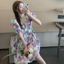 Dress Summer 2021 Picture color Average size Middle-skirt singleton  Short sleeve commute square neck High waist Decor Socket A-line skirt puff sleeve Others 18-24 years old Type A Korean version printing 5931#