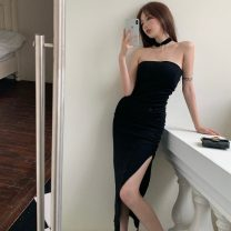 Dress Summer 2021 Gray, black Average size Mid length dress singleton  Sleeveless commute One word collar High waist Solid color Socket A-line skirt other Breast wrapping 18-24 years old Type A Korean version other
