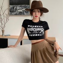 Fashion suit Summer 2021 S. M, l, average size Black top , Coffee pleated skirt 18-25 years old cotton