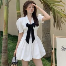 Dress Summer 2021 White, black S, M Middle-skirt singleton  Short sleeve commute tailored collar High waist Solid color Socket A-line skirt puff sleeve Others 18-24 years old Type A Korean version 5168# 51% (inclusive) - 70% (inclusive)