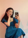 Dress Spring 2021 blue Average size Mid length dress singleton  Short sleeve commute square neck High waist Solid color Socket Pleated skirt puff sleeve Others 18-24 years old Type A Korean version Stitching, lacing 31% (inclusive) - 50% (inclusive)
