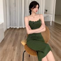 Dress Summer 2021 Green, yellow Average size Mid length dress singleton  Sleeveless commute square neck High waist Solid color Socket A-line skirt other camisole 18-24 years old Type A Korean version