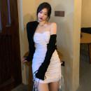Dress Spring 2021 White bra skirt, black bra skirt Average size Middle-skirt singleton  Sleeveless commute other High waist Solid color Socket A-line skirt other Others 18-24 years old Type A Korean version